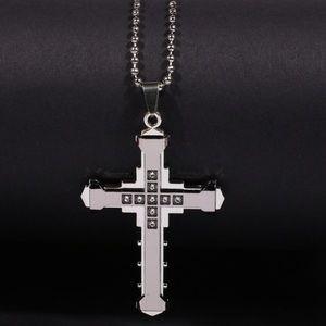Unisex  crystal Cross Pendant Silver necklace.